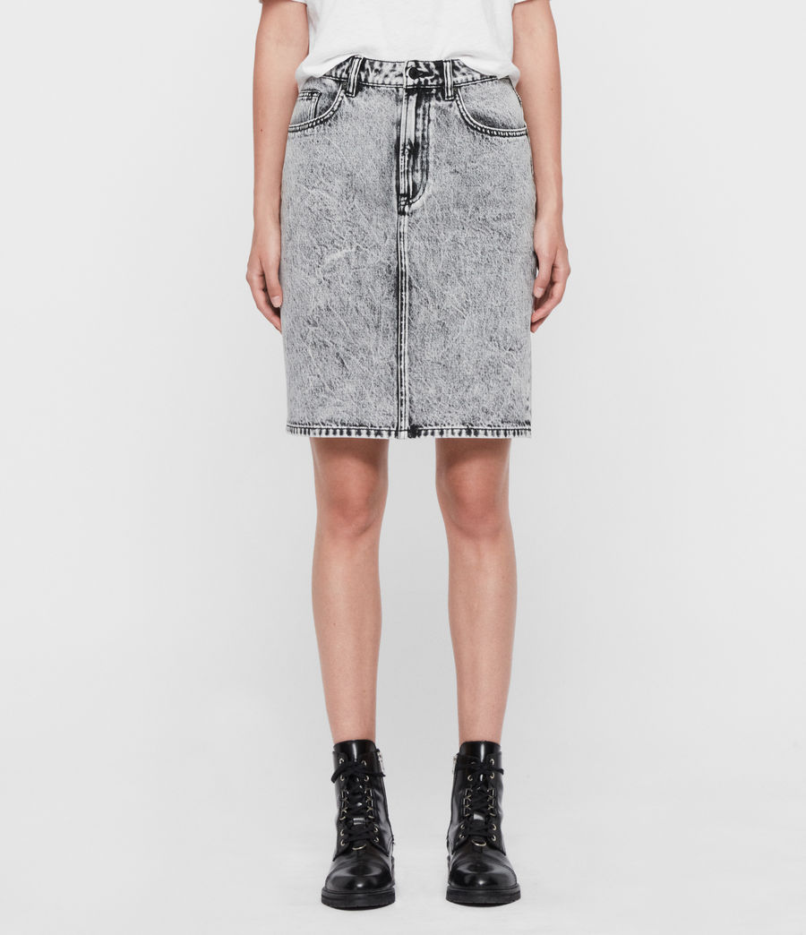Womens Nara Denim Pencil Skirt (acid_wash_black) - Image 2