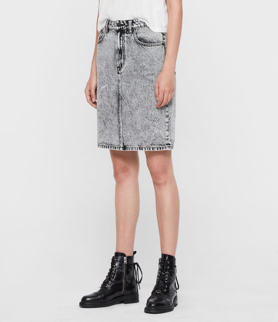 Womens Nara Denim Pencil Skirt (acid_wash_black) - Image 3