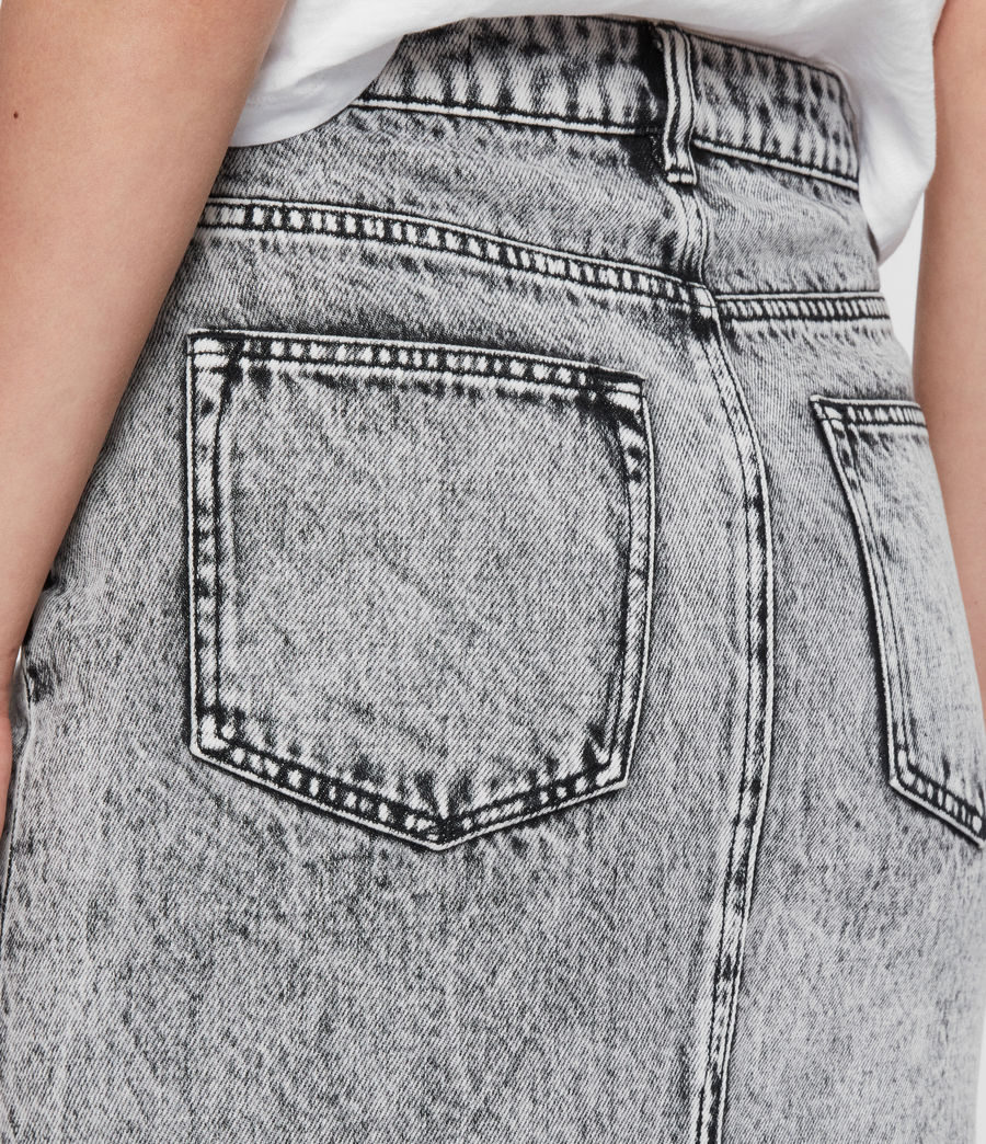 Womens Nara Denim Pencil Skirt (acid_wash_black) - Image 4