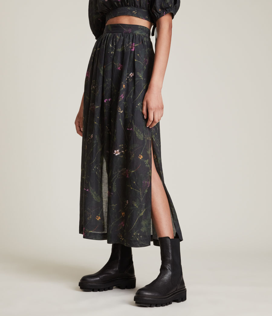 Women's Asta Heligan Linen Blend Skirt (black) - Image 2