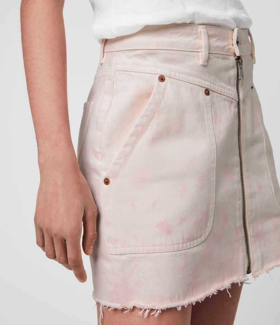 Women's Elma Dye Denim Skirt (chalk_white_pink) - Image 1