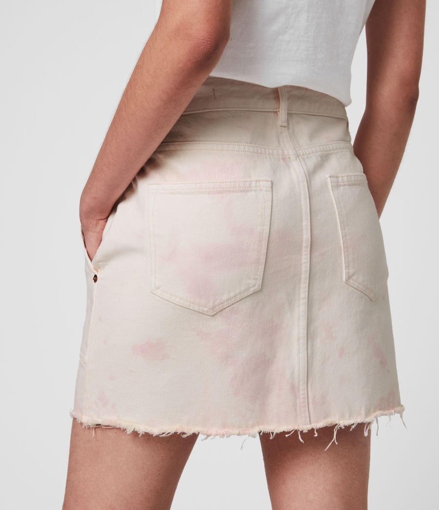 Women's Elma Dye Denim Skirt (chalk_white_pink) - Image 3