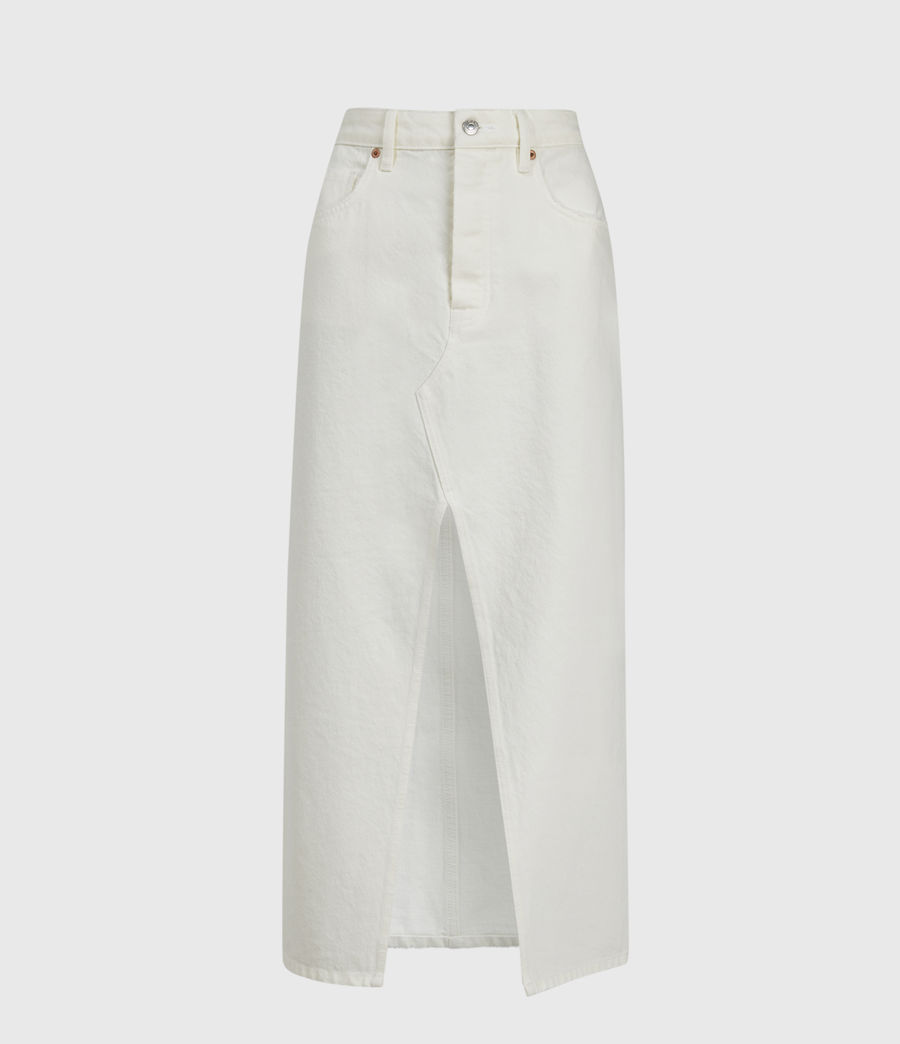 Women's Dottie Denim Maxi Skirt (white) - Image 2
