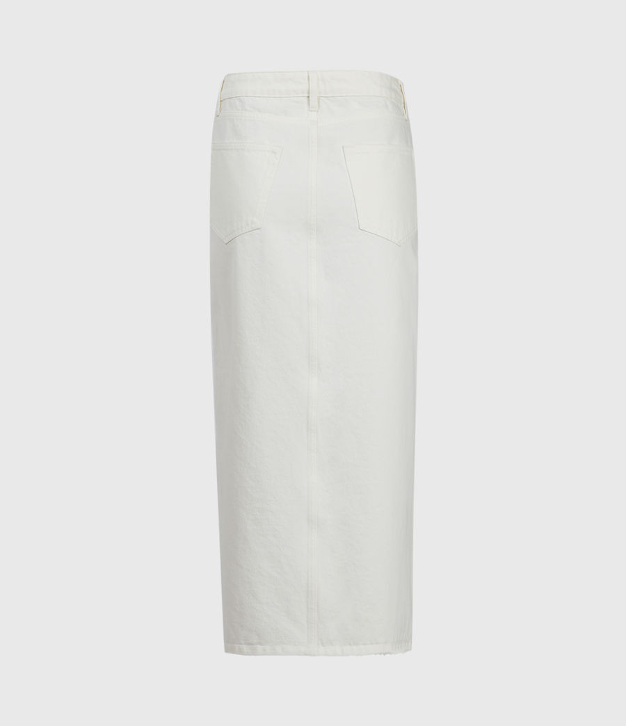 Women's Dottie Denim Maxi Skirt (white) - Image 3
