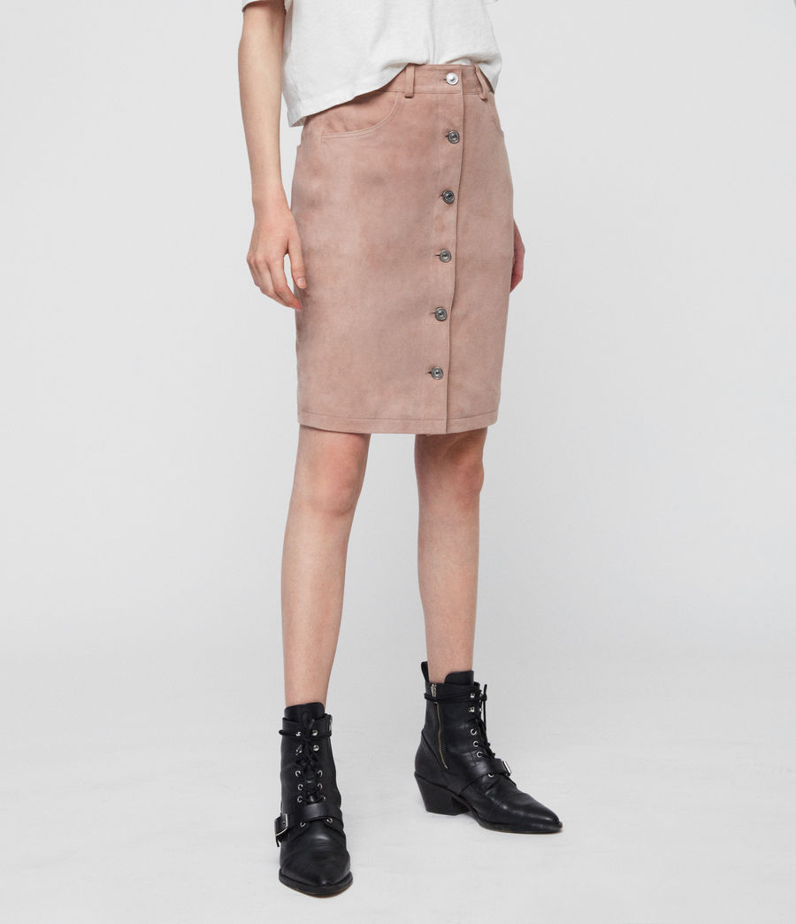 Women's Jiro Suede Skirt (putty_pink) - Image 2