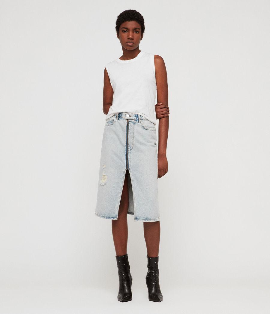 b2cfbf84589fdd ALLSAINTS US: Womens Mabel Long Denim Skirt (ice_blue)
