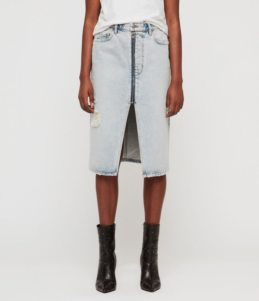 Women's Mabel Long Denim Skirt (ice_blue) - Image 2