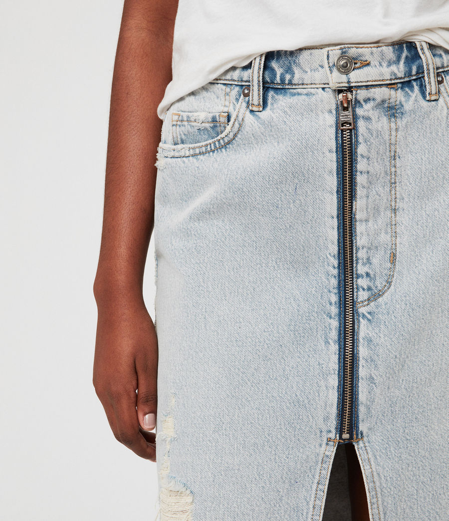 Women's Mabel Long Denim Skirt (ice_blue) - Image 3