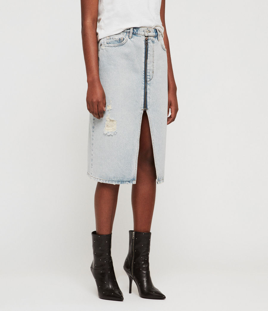 Womens Mabel Long Denim Skirt (ice_blue) - Image 4