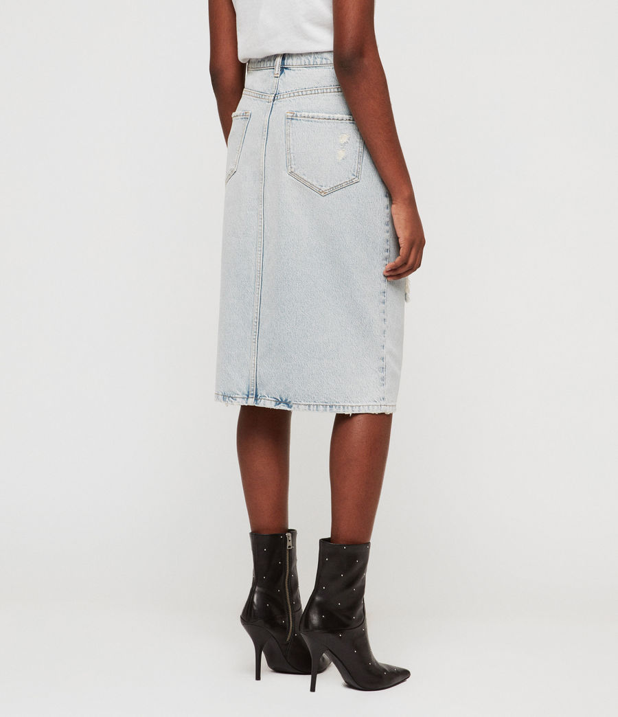 Womens Mabel Long Denim Skirt (ice_blue) - Image 5