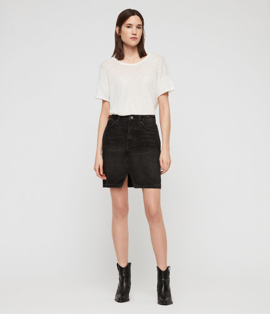 Women's Trudy Denim Skirt (black) - Image 3