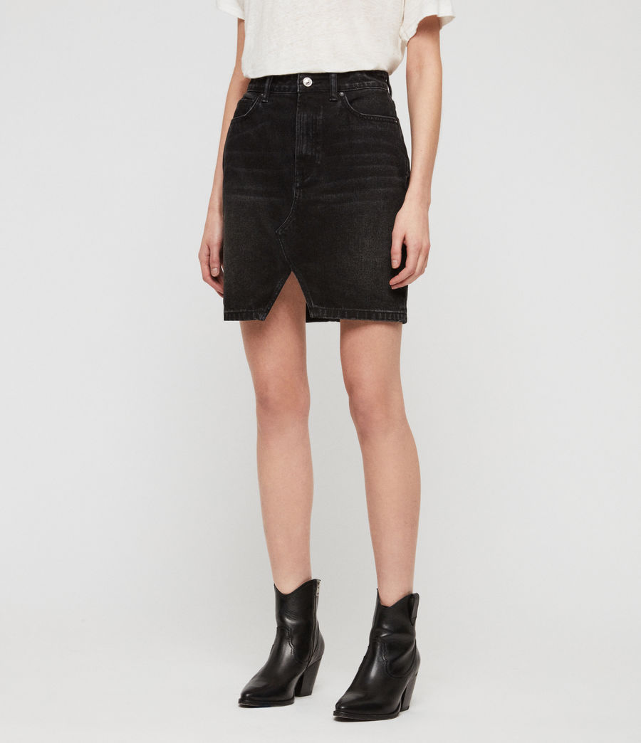 Womens Trudy Denim Skirt (black) - Image 5