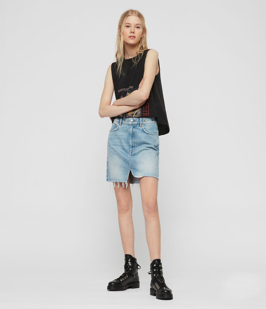 Womens Lila Eyelet Denim Skirt (light_indigo_blue) - Image 2
