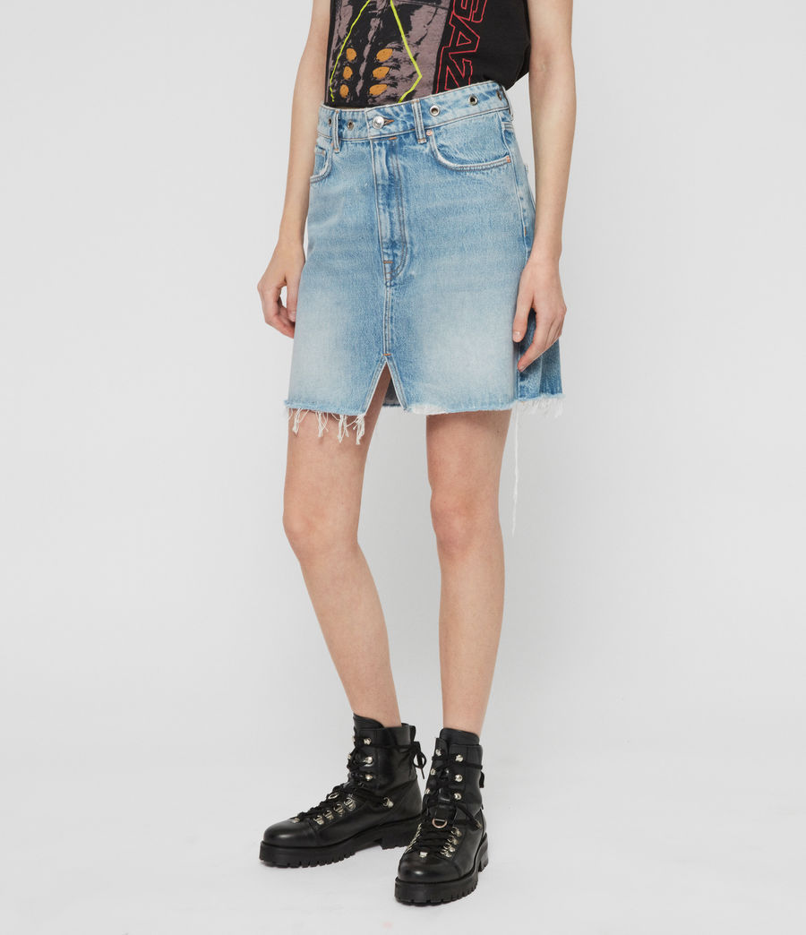 Womens Lila Eyelet Denim Skirt (light_indigo_blue) - Image 3