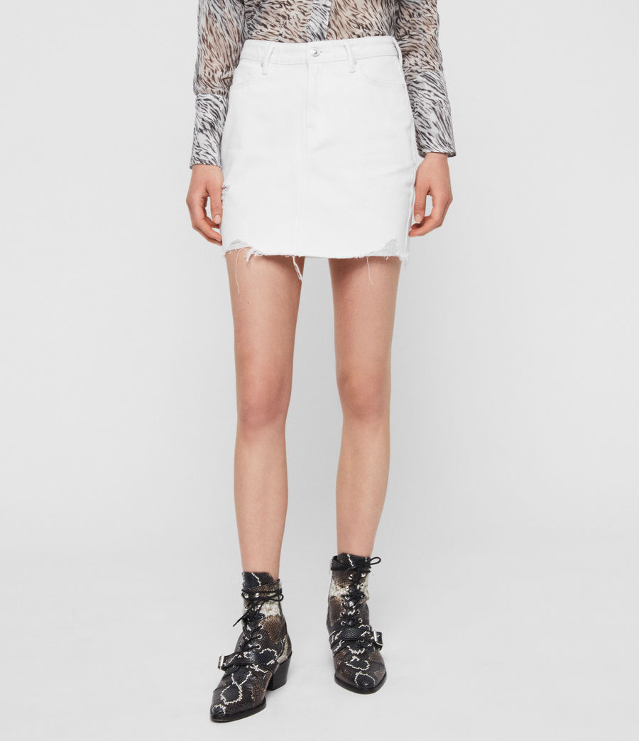 Womens Betty Denim Skirt (white) - Image 2