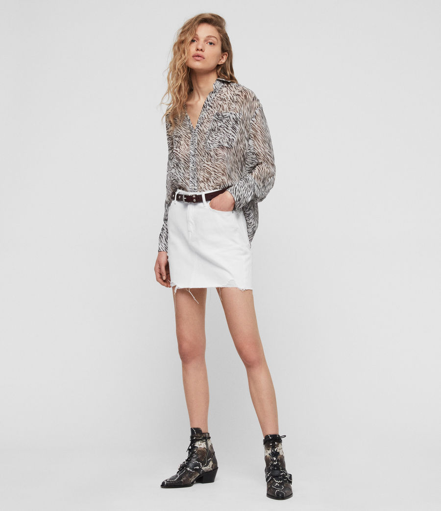 Womens Betty Denim Skirt (white) - Image 3