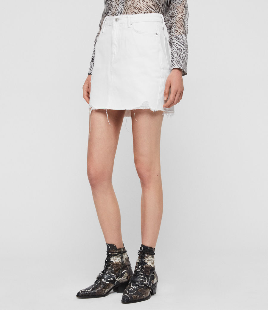 Womens Betty Denim Skirt (white) - Image 5