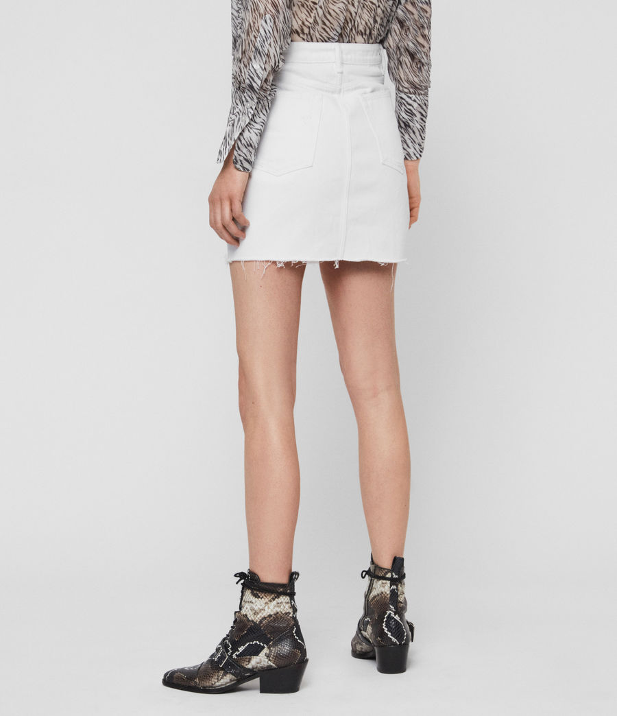 Womens Betty Denim Skirt (white) - Image 6