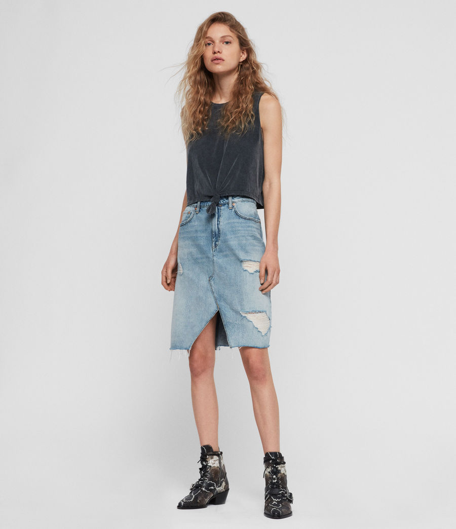 Womens Alfie Denim Skirt (indigo_blue) - Image 1