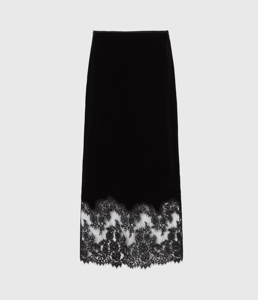 Women's Bridgette Silk Blend Velvet Skirt (black) - Image 2
