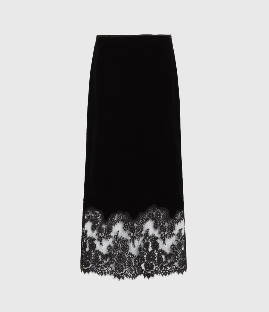 Women's Bridgette Silk Blend Velvet Skirt (black) - Image 3