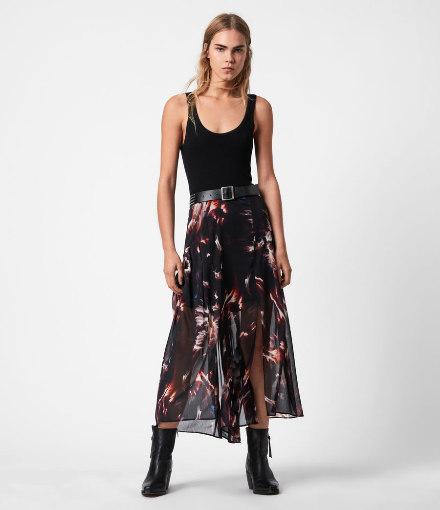 Womens Vivvie Flames Skirt (black) - Image 1