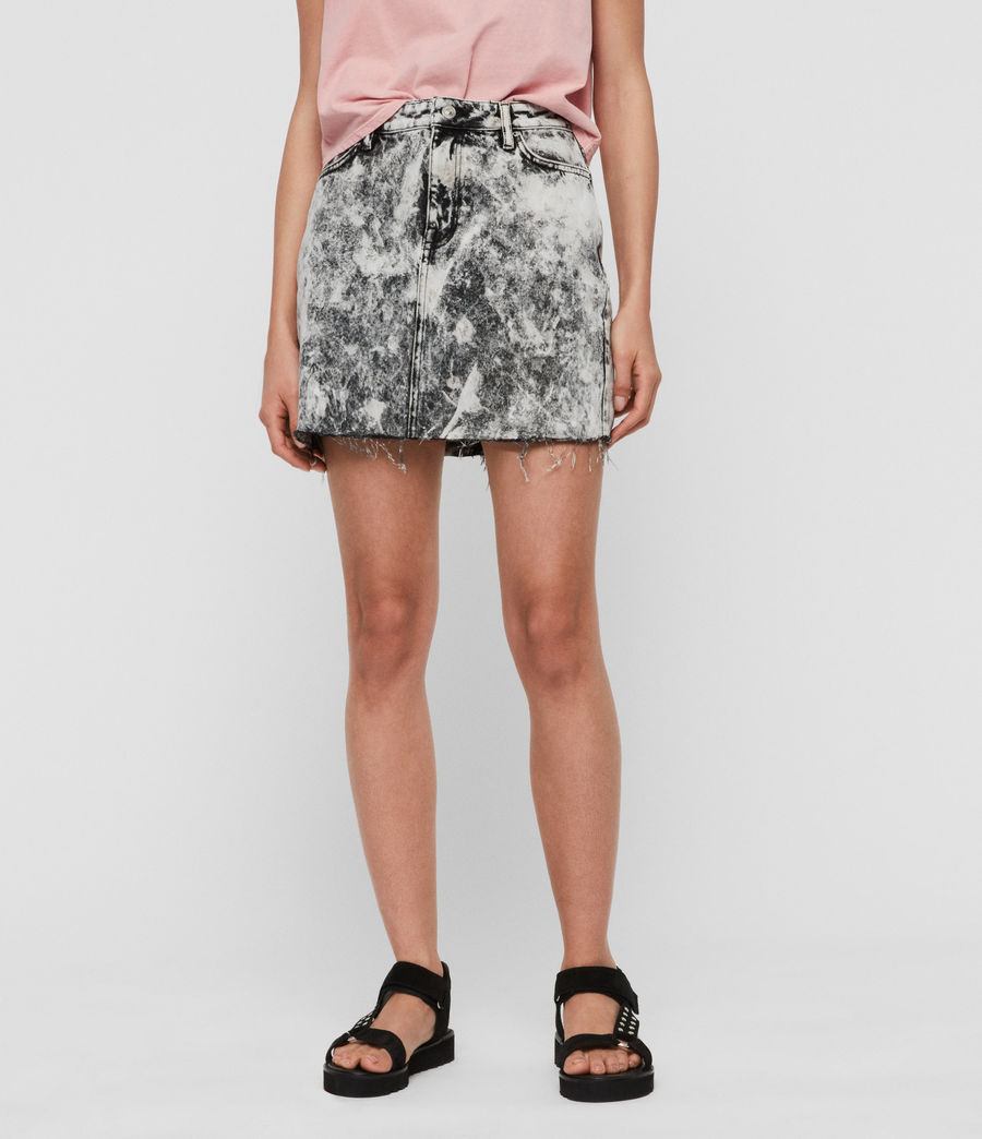 Womens Betty Denim Skirt (acid_washed_black) - Image 2