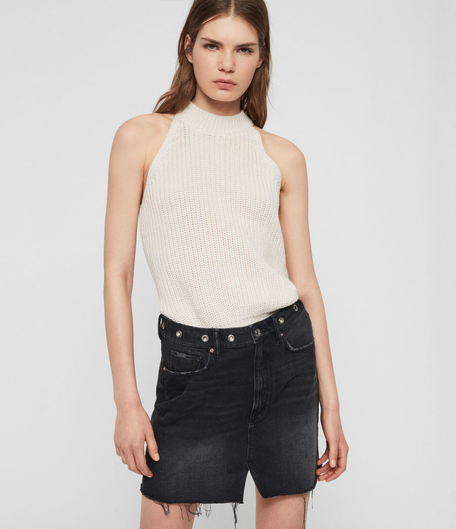 Womens Lila Eyelet Denim Skirt (black) - Image 1