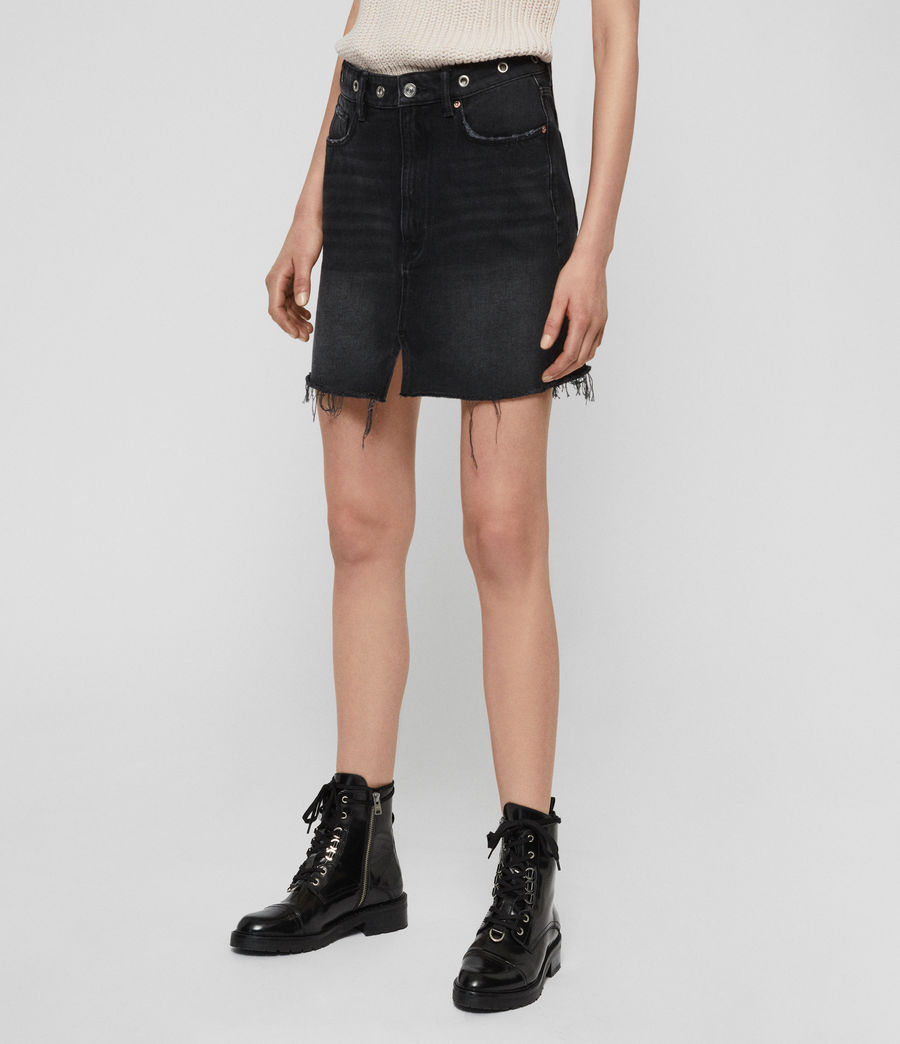 Womens Lila Eyelet Denim Skirt (black) - Image 2