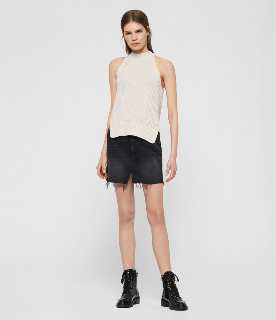 Womens Lila Eyelet Denim Skirt (black) - Image 3