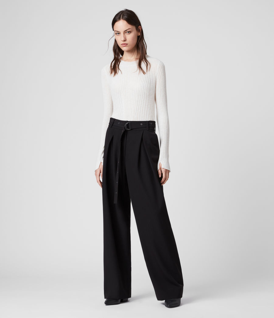 Women's Ria Mid-Rise Wide Trousers (black) - Image 1
