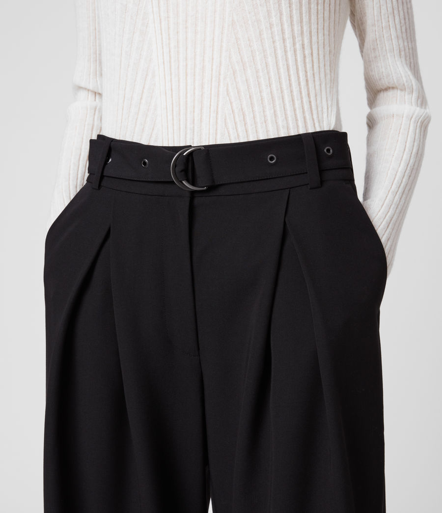 Women's Ria Mid-Rise Wide Trousers (black) - Image 2