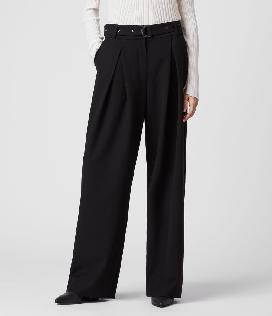 Women's Ria Mid-Rise Wide Trousers (black) - Image 3