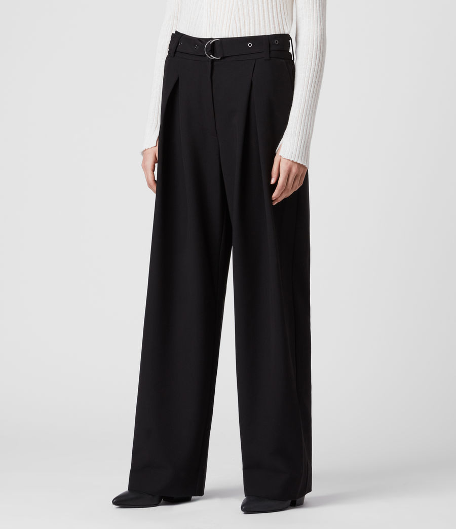 Women's Ria Mid-Rise Wide Trousers (black) - Image 4