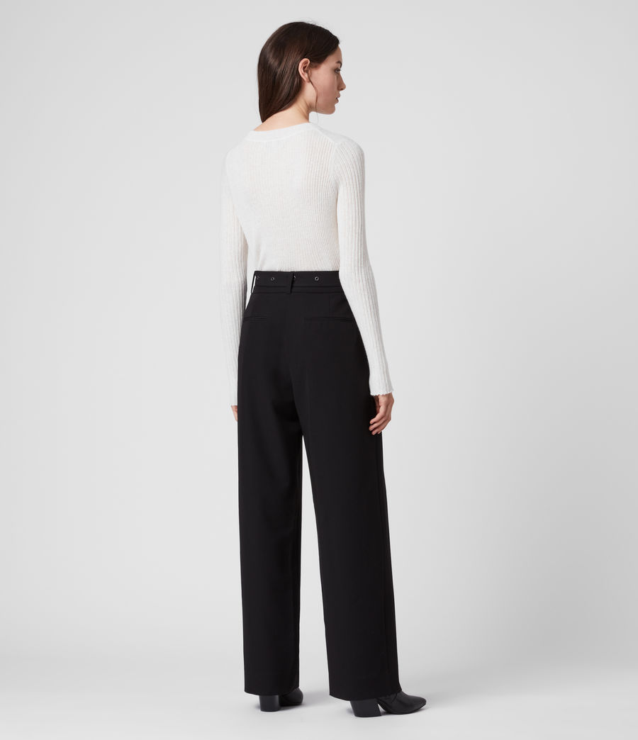 Women's Ria Mid-Rise Wide Trousers (black) - Image 5