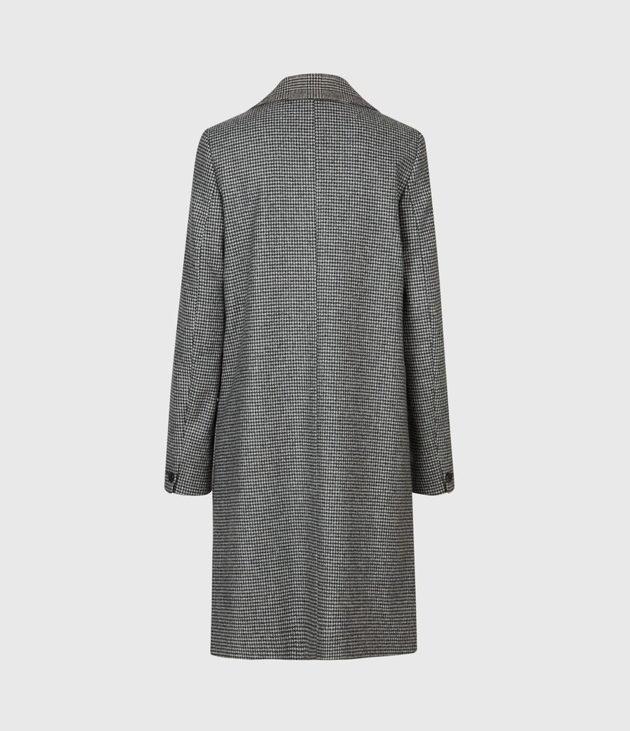 Women's Tamia Wool Blend Check Duster (black_white) - Image 3
