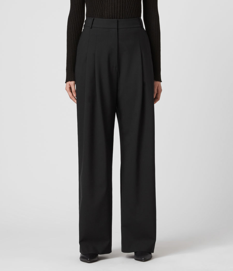Women's Tave Mid-Rise Wide Trousers (black) - Image 3