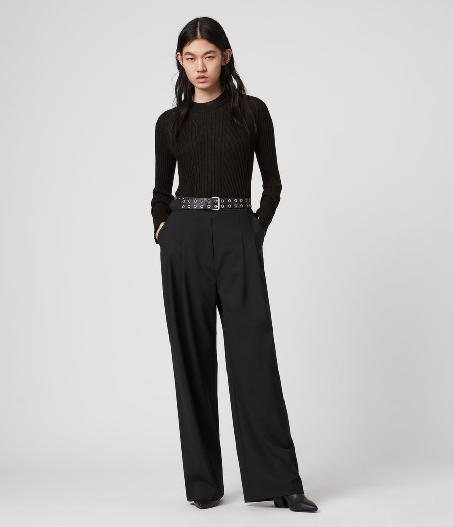 Women's Tave Mid-Rise Wide Trousers (black) - Image 4