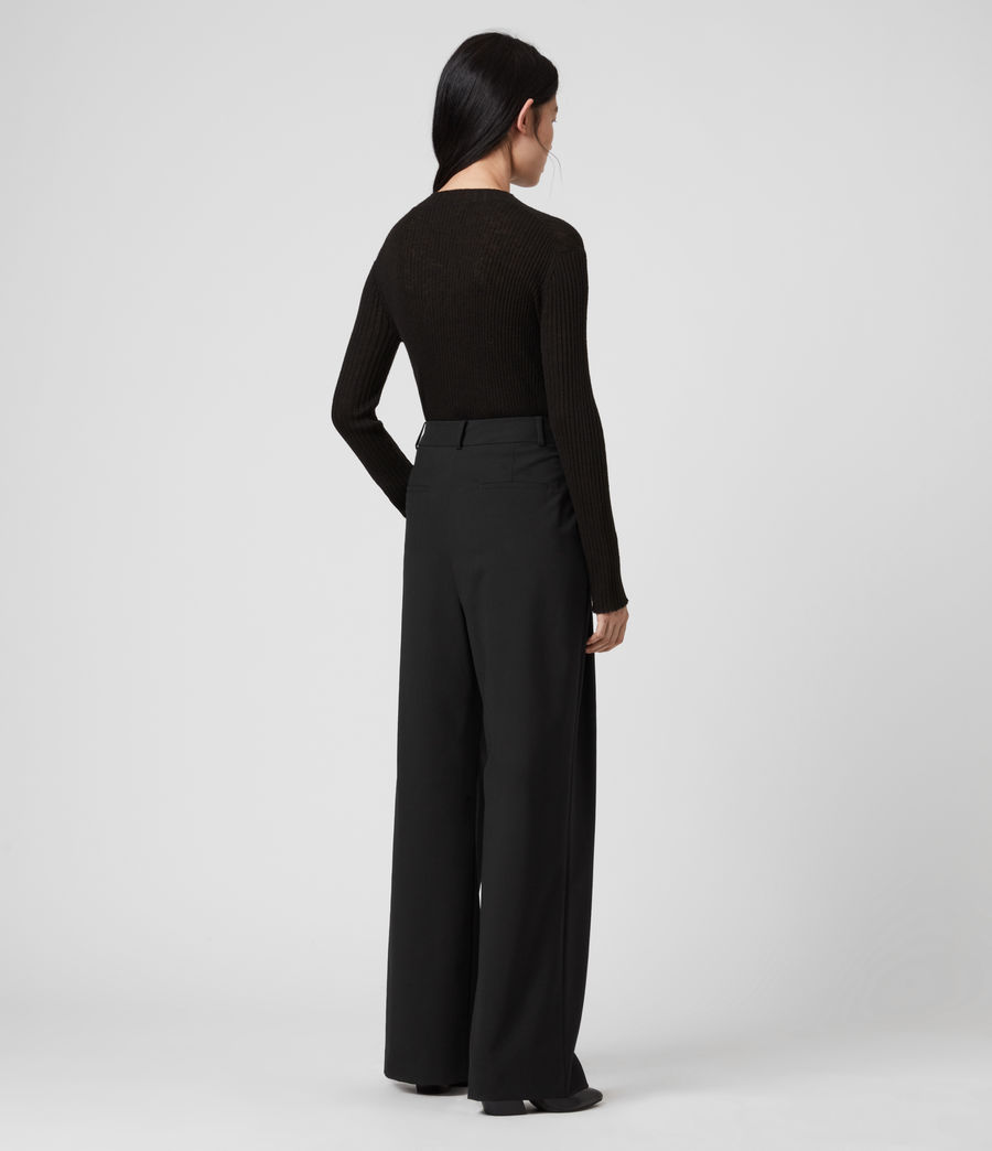 Women's Tave Mid-Rise Wide Trousers (black) - Image 6