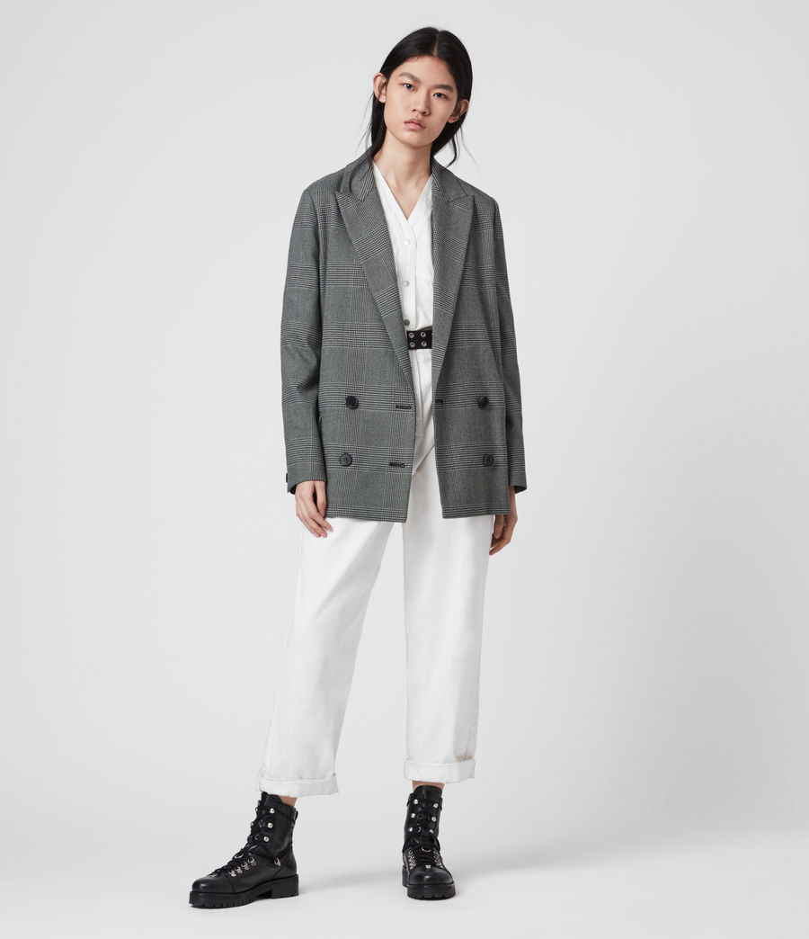Women's Helei Check Blazer (charcoal_grey) - Image 1