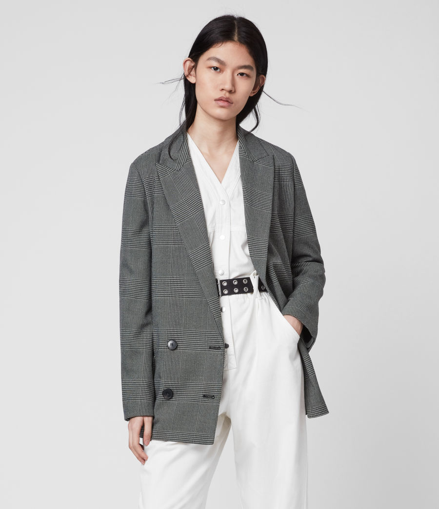 Women's Helei Check Blazer (charcoal_grey) - Image 3