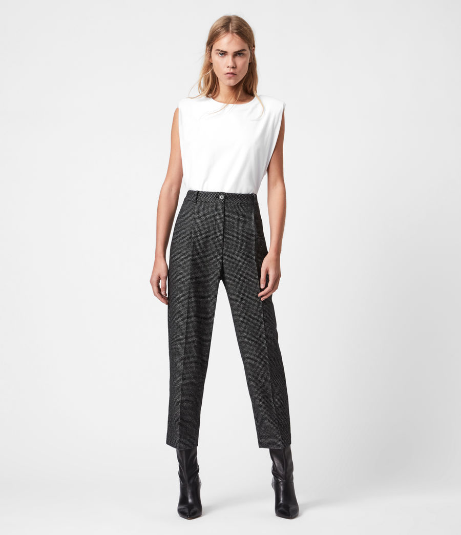 Womens Mara Puppytooth High-Rise Straight Pants (black_white) - Image 4