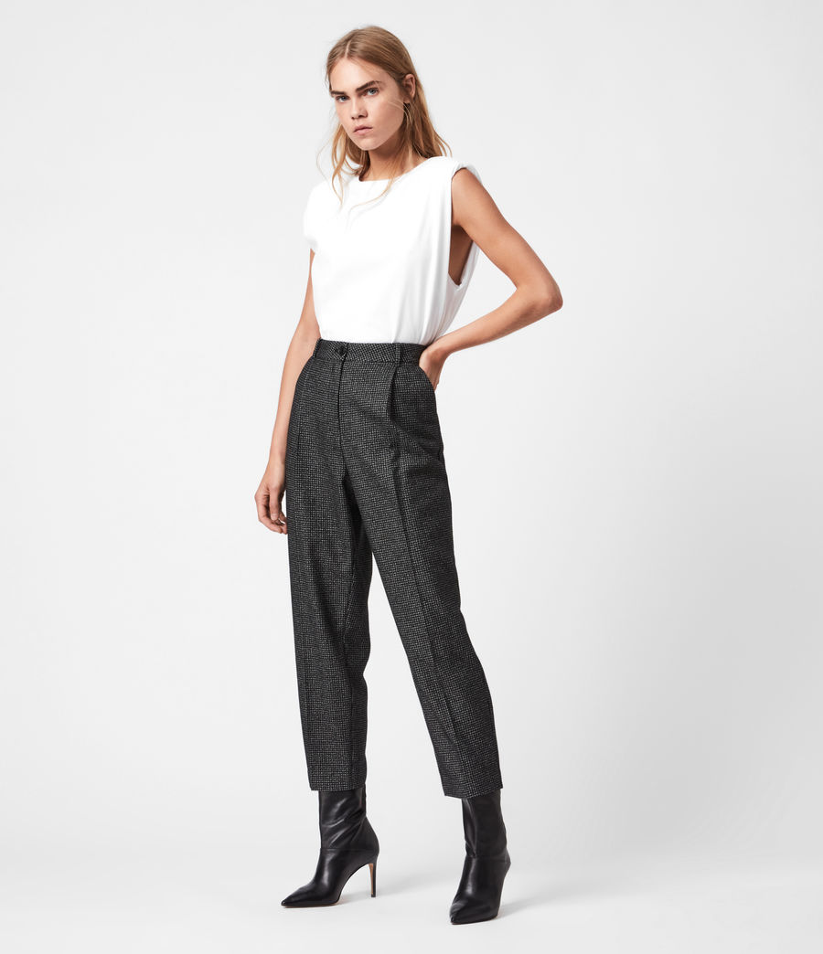 Womens Mara Puppytooth High-Rise Straight Pants (black_white) - Image 6