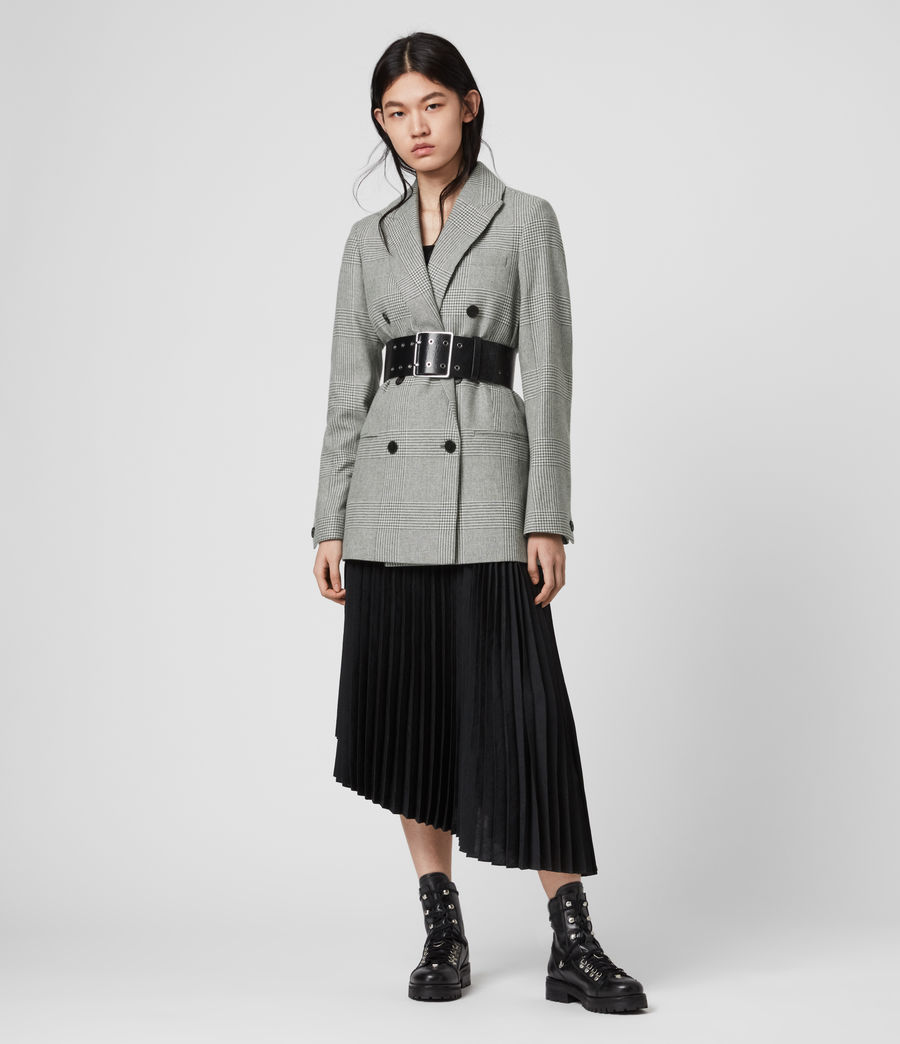 Women's Astrid Check Blazer (light_grey_ecru) - Image 1