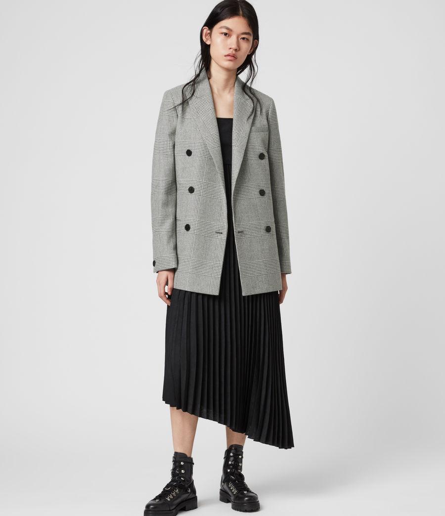 Women's Astrid Check Blazer (light_grey_ecru) - Image 3