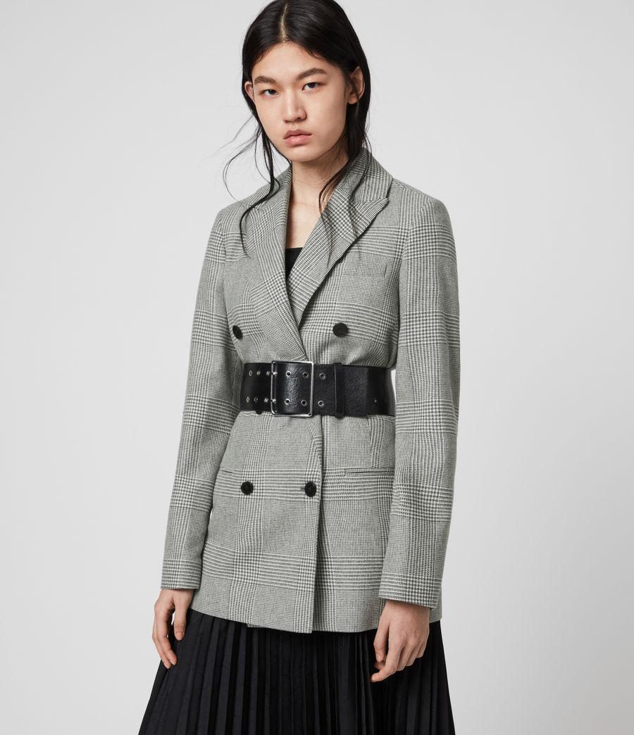 Women's Astrid Check Blazer (light_grey_ecru) - Image 4