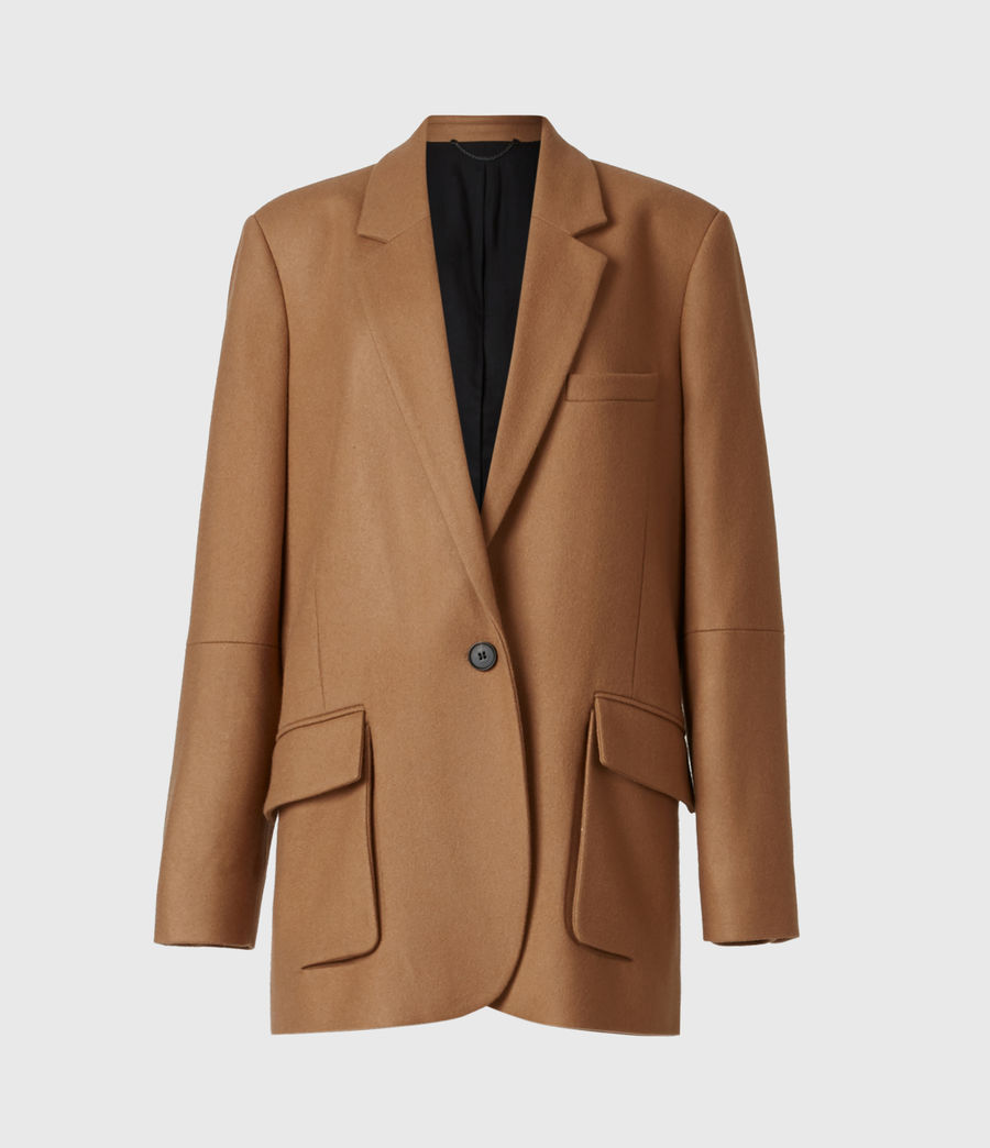 Women's Jesse Wool Blend Blazer (camel_brown) - Image 2