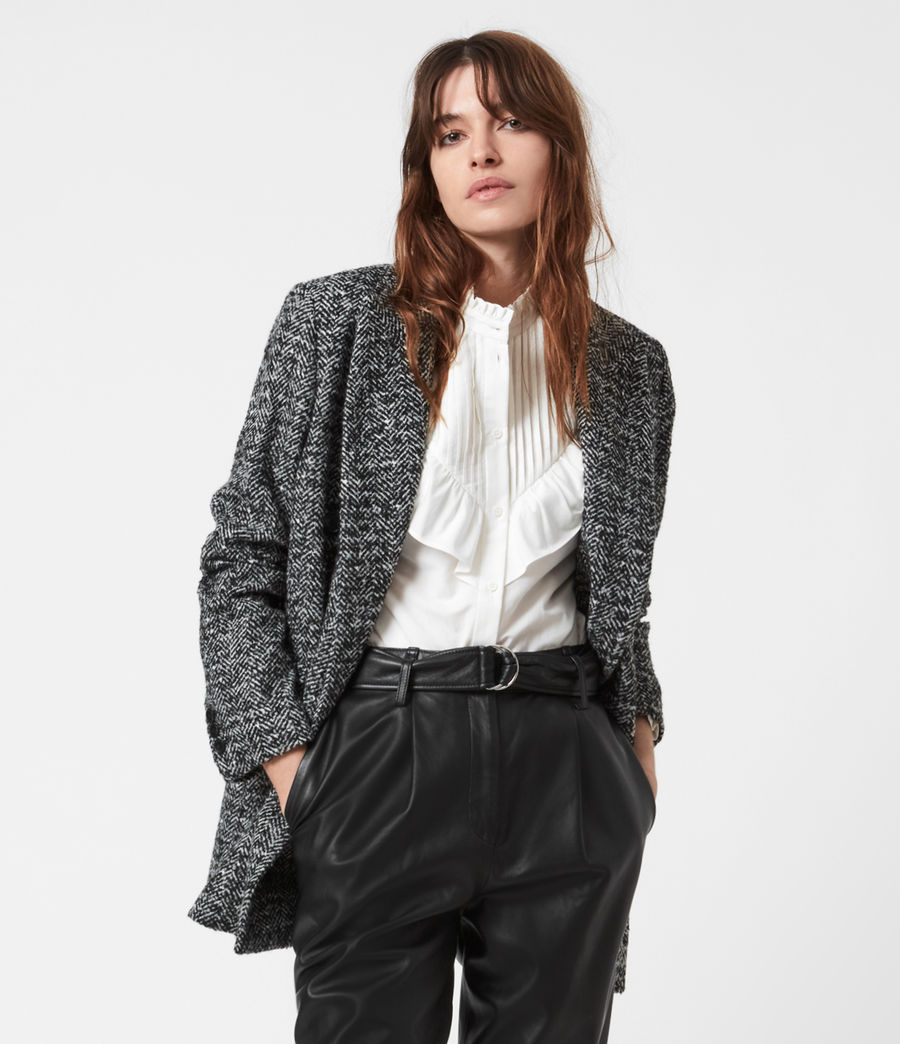 Women's Parker Wool Blend Blazer (black_white) - Image 1