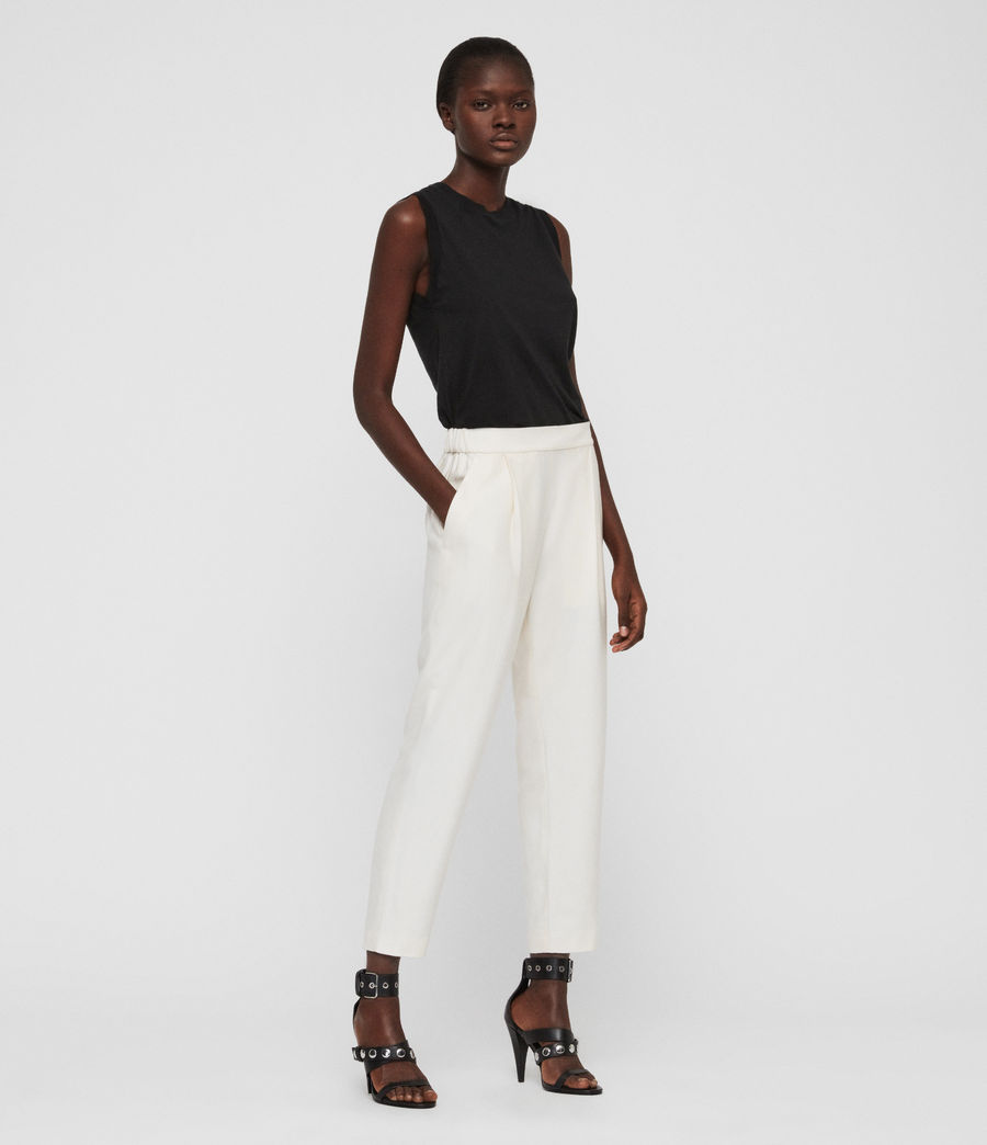 Women's Aleida Tapered High-Rise Trousers (ecru_white) - Image 1