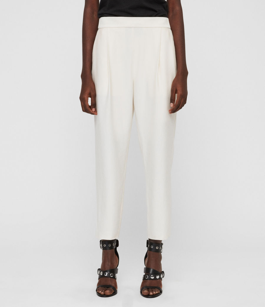 Women's Aleida Tapered High-Rise Trousers (ecru_white) - Image 2